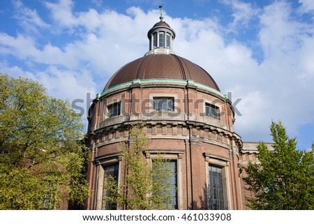 Round Lutheran Church (Ronde Lutherse Kerk) from 17th century in Amsterdam, Holland, Netherlands