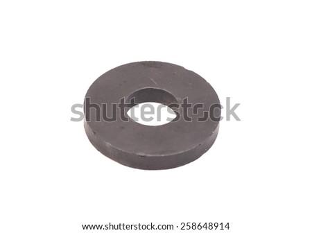 round magnet isolated on white - stock photo
