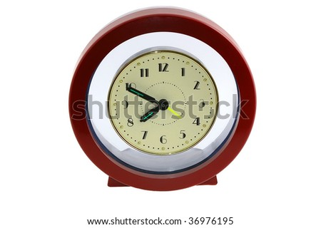 Round mechanical clock isolated on the white