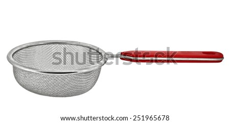 Round metal strainer isolated on white background. Clipping path included. - stock photo