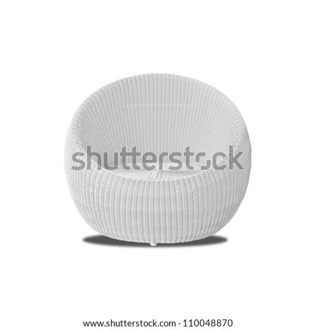 Round modern furniture wicker chairs isolated on white background - stock photo