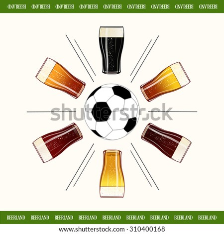 Round of glasses of cold beer with football center poster. Colorful beer glass design menu background banner. - stock photo