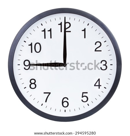Round office clock showing nine o'clock isolated on white background - stock photo