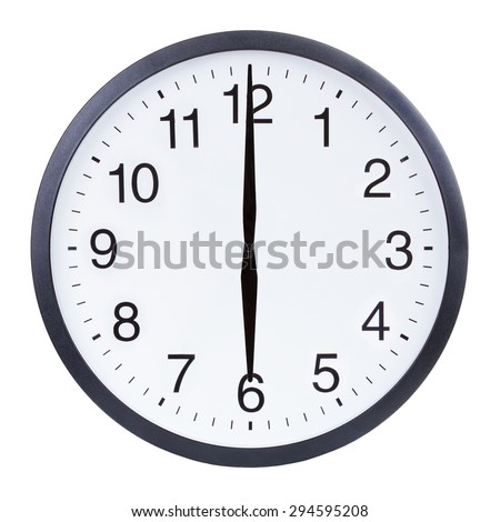 Round office clock showing six o'clock isolated on white background - stock photo