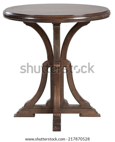 Round old small wodden table - stock photo