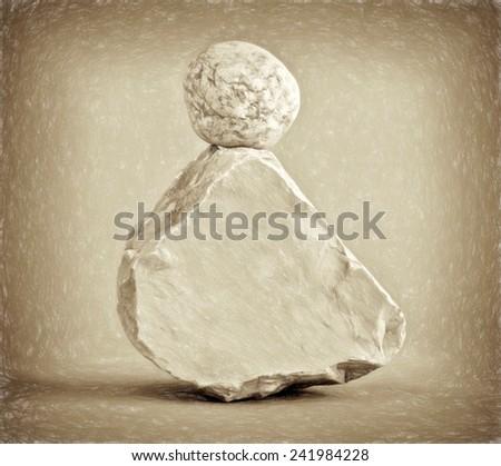 round on rock  - illustration based on own photo image - stock photo