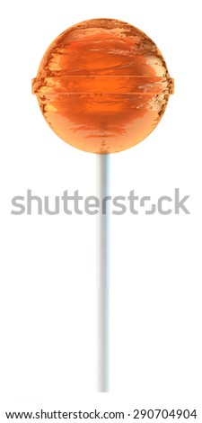 round orange sugar candy on a plastic stick - stock photo