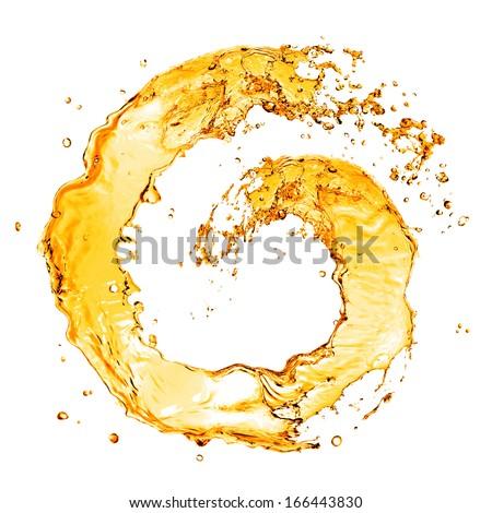 round orange water splash isolated on white - stock photo