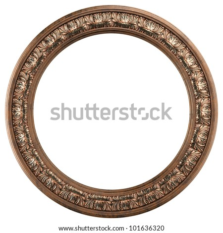 round ornamented old gold picture frame isolated on white - stock photo