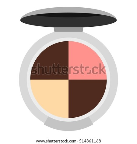 Round palette eye shadow icon. Flat illustration of round palette eye shadow  icon for web