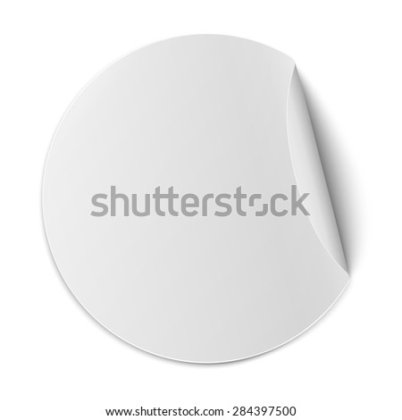 Round paper sticker with bent right edge - stock photo