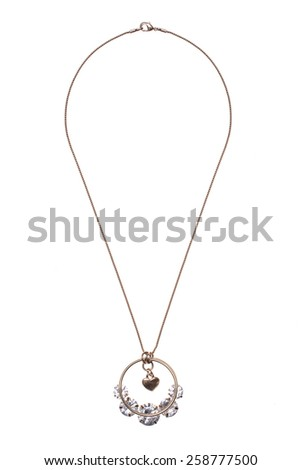 round pendant with a heart on a white background - stock photo