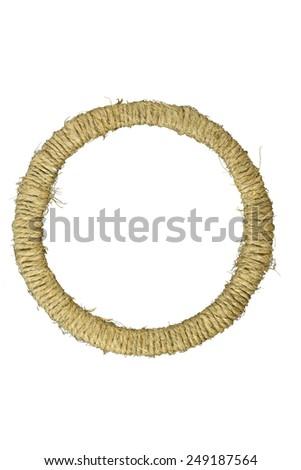 Round photo frame braided jute yarn. Scrapbook. Isolated on white background. - stock photo