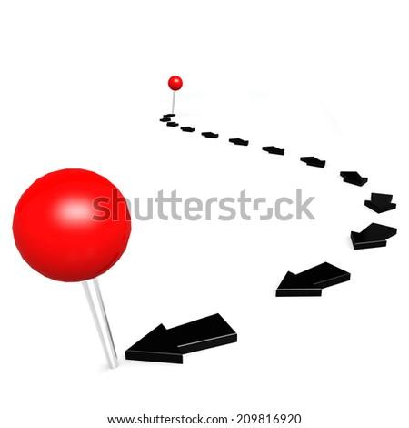 Round pin black path - stock photo