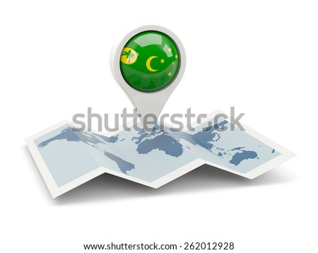 Round pin with flag of cocos islands on the map - stock photo