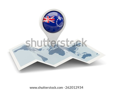 Round pin with flag of cook islands on the map - stock photo