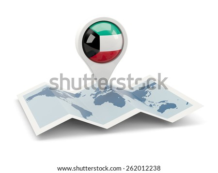 Round pin with flag of kuwait on the map - stock photo