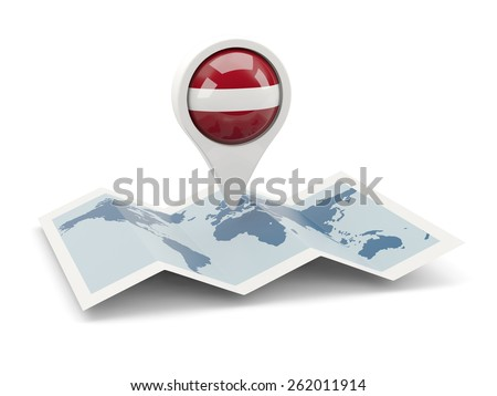 Round pin with flag of latvia on the map - stock photo