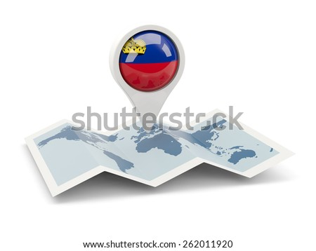 Round pin with flag of liechtenstein on the map - stock photo