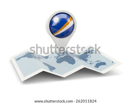 Round pin with flag of marshall islands on the map - stock photo