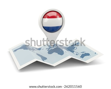 Round pin with flag of netherlands on the map - stock photo