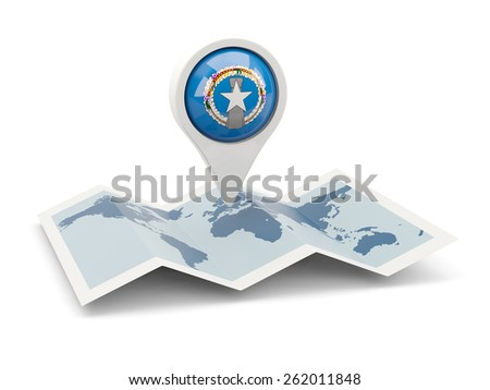 Round pin with flag of northern mariana islands on the map - stock photo