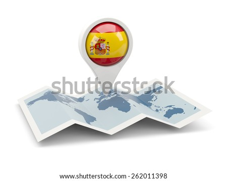 Round pin with flag of spain on the map - stock photo