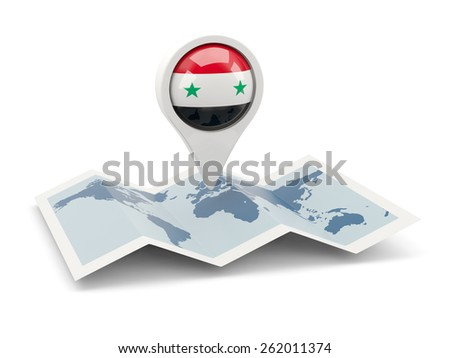 Round pin with flag of syria on the map - stock photo