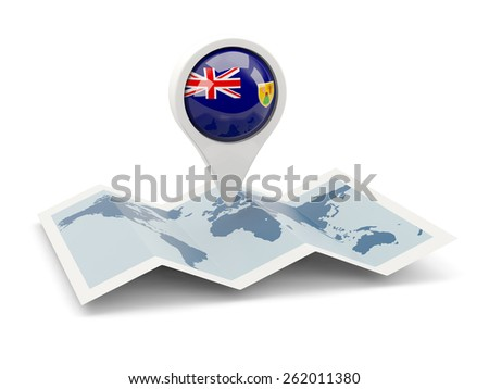 Round pin with flag of turks and caicos islands on the map - stock photo
