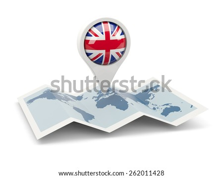 Round pin with flag of united kingdom on the map - stock photo