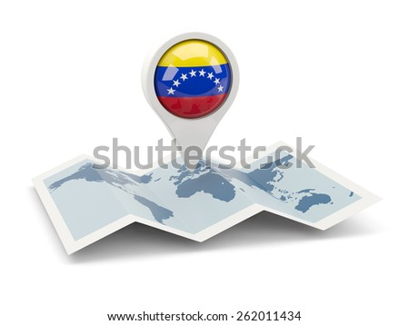 Round pin with flag of venezuela on the map - stock photo
