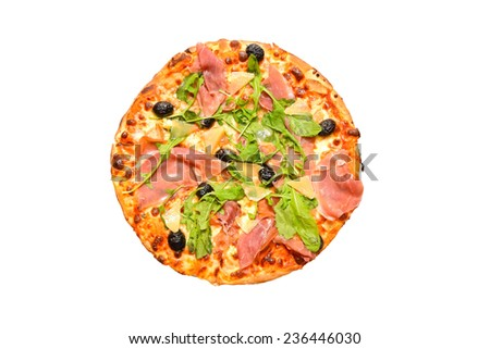 round pizza food isolated over white background - stock photo
