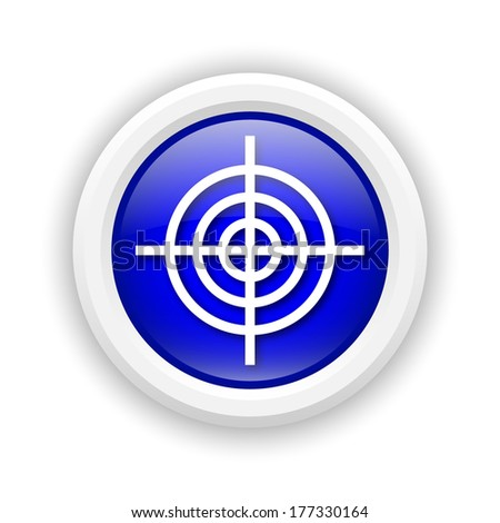 Round plastic icon with white design on blue background