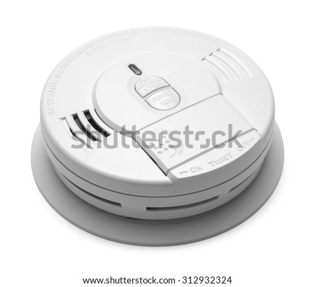 Round Plastic Smoke Detector Fire Alarm Isolated on White Background. - stock photo