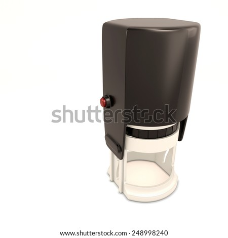 Round plastic stamp isolated on white background. 3d render image. - stock photo