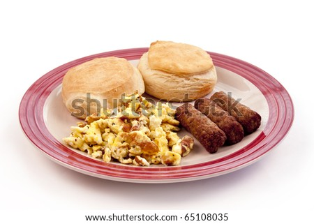 round plate of breakfast biscuits, scrambled eggs, and sausage links