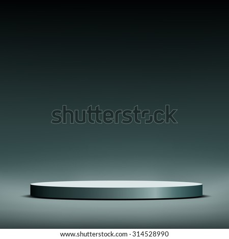 Round podium for the presentation. Stock image.