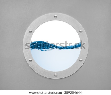 round porthole and sea wave with white field - stock photo