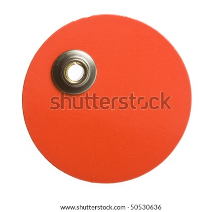 round red blank price tag on white - stock photo