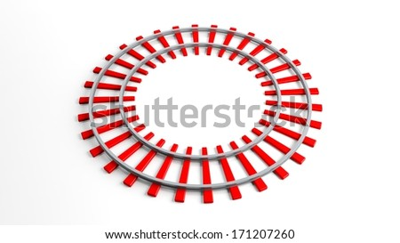 Round red railway track, isolated on white background - stock photo