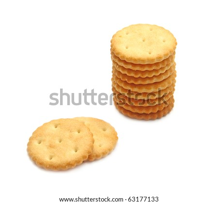 Round salty cracker stack isolated on white background