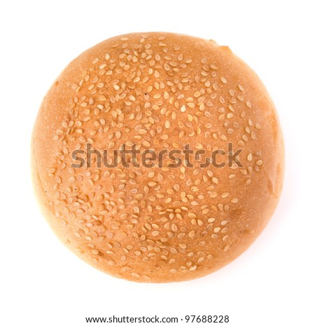 Round sandwich bun with sesame seeds isolated on white background - stock photo