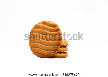 round shaped cookies or biscuits isolated on white available with clipping mask - stock photo