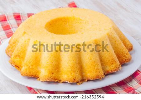 Round-shaped tasty lemon cake - stock photo