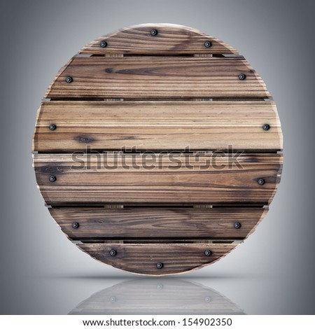 Round shield from wood.  High resolution 3d render  - stock photo