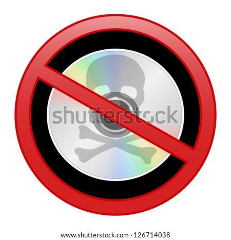 Round sign prohibiting piracy, black background inside - stock photo