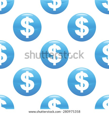 Round sign with dollar symbol repeated on white background - stock photo
