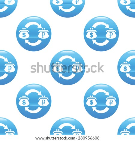 Round sign with purses, currency symbols and exchange arrows, repeated on white background - stock photo