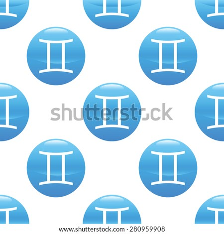 Round sign with zodiac gemini symbol, repeated on white background - stock photo