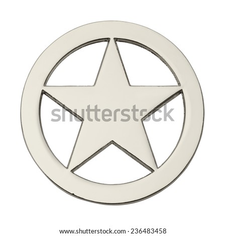 Round Silver Star Badge Isolated on White Background. - stock photo